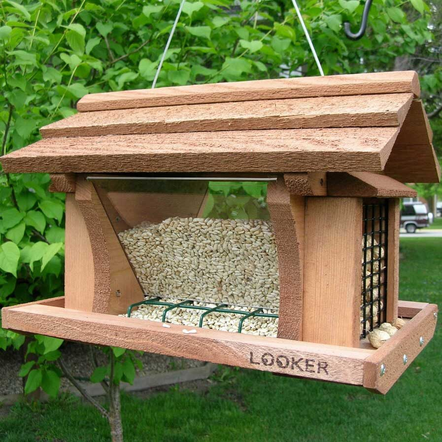 Wooden bird feeders