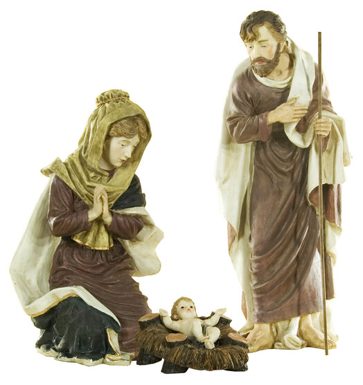 Polyresin Nativity Holy Family, 3 Piece Set