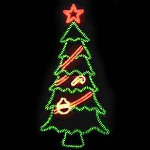 Tree With Bright Red Star Topper And Ornaments