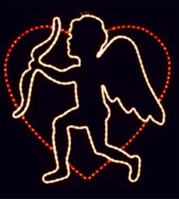 Cupid And His Bow In Heart