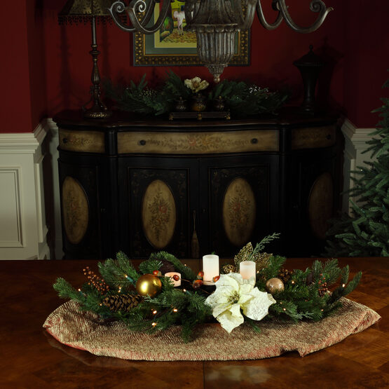 "42"" Vermont White Candle Centerpiece With Battery Operated Lights"