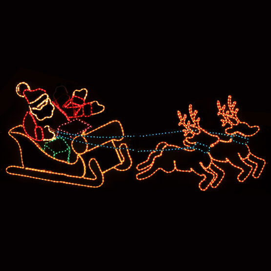 Waving Santa with Sleigh and Reindeer