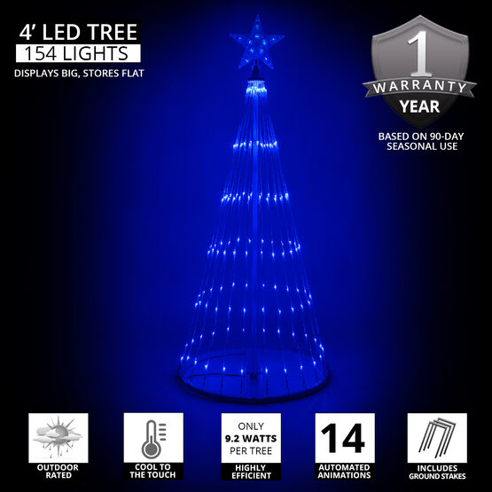 4' Blue LED Animated Outdoor Lightshow Tree