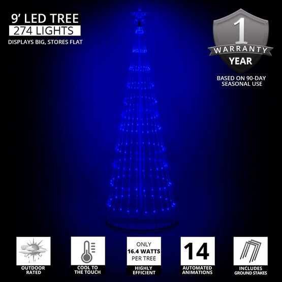 9' Blue LED Animated Outdoor Lightshow Tree