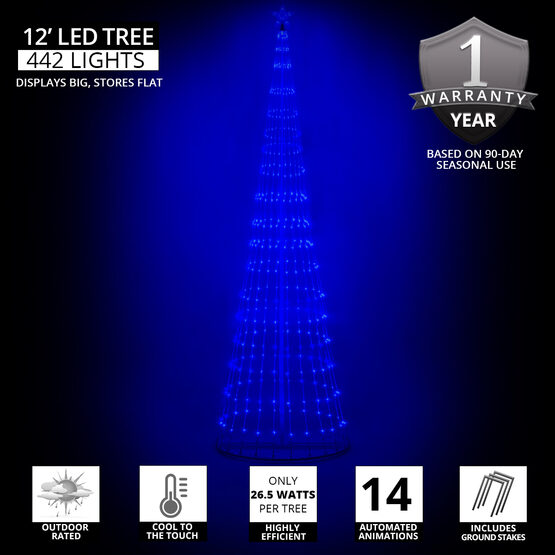 12' Blue LED Animated Outdoor Lightshow Tree
