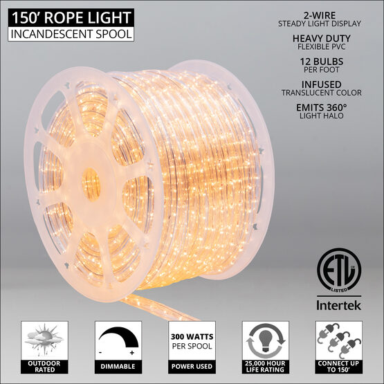 """150' Clear Rope Light, 120 Volt, 1/2"""""""