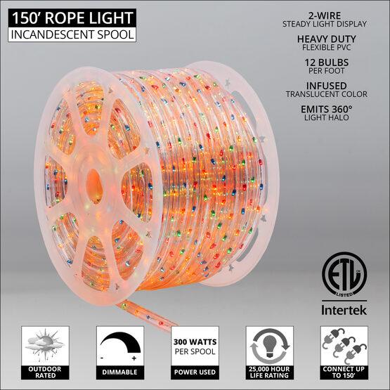"150' Multicolor Rope Light, 120 Volt, 1/2"""