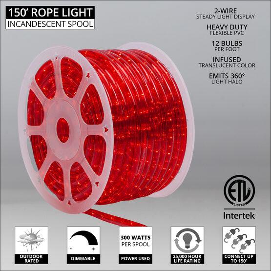 "150' Red Rope Light, 120 Volt, 1/2"""