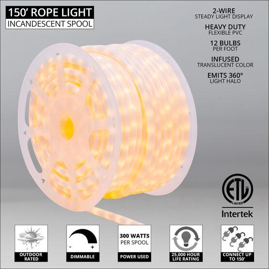 """150' Pearl White Rope Light, 120 Volt, 1/2"""""""