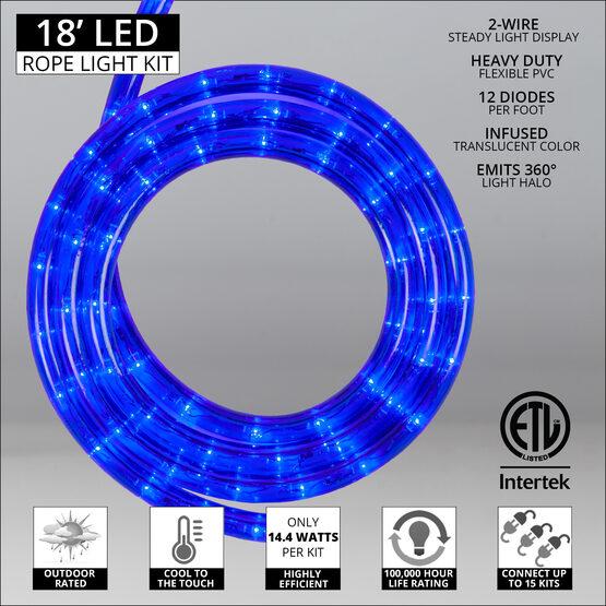 """18' Blue LED Rope Light, 120 Volt, 1/2"""""""
