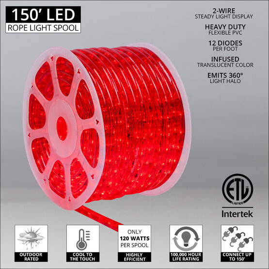 "150' Red LED Rope Light, 120 Volt, 1/2"""