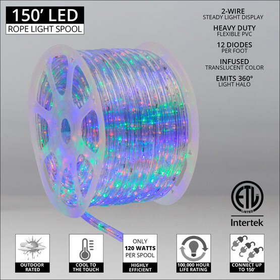 """150' Multi: Red, Blue, Green, Yellow LED Rope Light, 120 Volt, 1/2"""""""
