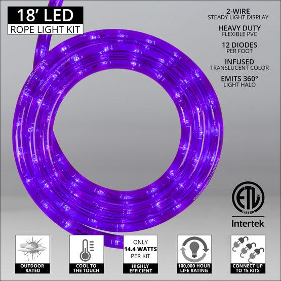 "18' Purple LED Rope Light, 120 Volt, 1/2"""