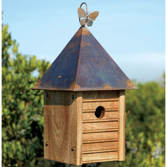 Homestead Wooden Bird House with Copper Roof