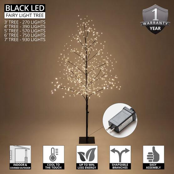 4' Black Fairy Light Tree, Warm White LED Lights