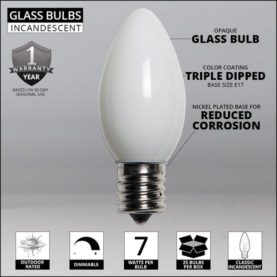 C9 Light Bulb, White Opaque