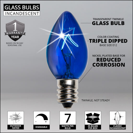 C7 Light Bulb, Blue Twinkle