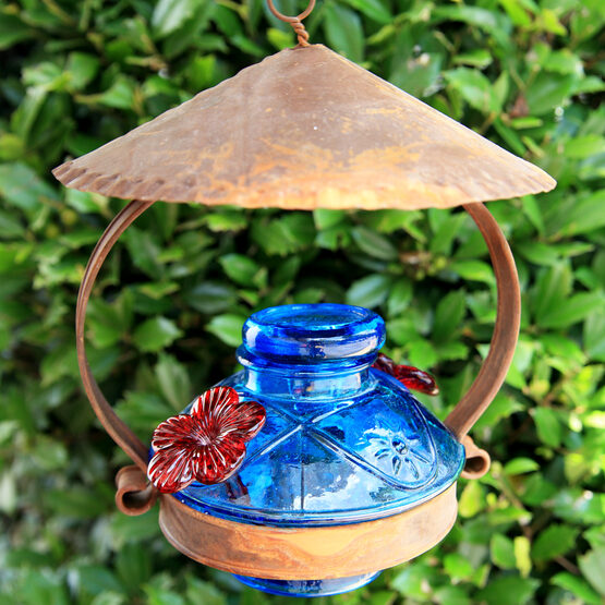 Pot de Creme Glass Hummingbird Feeder with Shelter