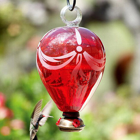Hot Air Balloon Red Glass Hummingbird Feeder