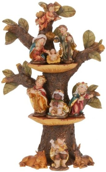 "12"" Nursery School Nativity with Tree Stand"
