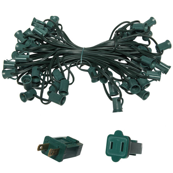 C7 Outdoor Light String, E12 Candelabra Sockets, Green Wire