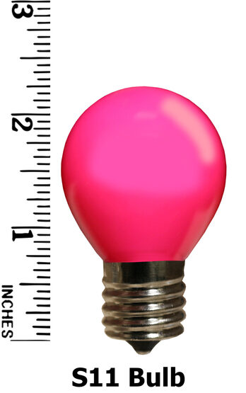 S11 Colored Party Bulbs, Pink Opaque