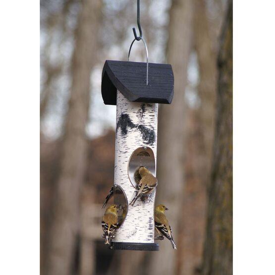 Birch Log Nyjer Seed Tube Bird Feeder