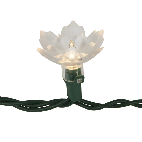 Two Layer Crystal Lily Flower Lights on Green Wire
