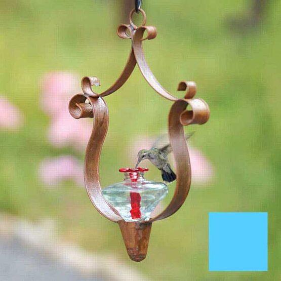 Aurora Crest Glass Hummingbird Feeder with Flame Red Mini-Blossom