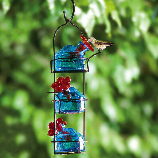 Bouquet Lunch Pail Glass Hummingbird Feeder Yard Envy