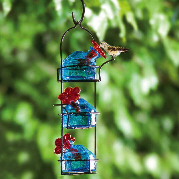 Bouquet Lunch Pail Glass Hummingbird Feeder