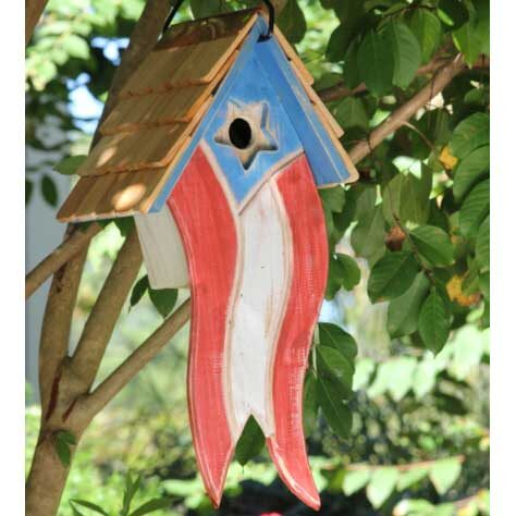 Betsy's Patriotic American Flag Hanging Bird House