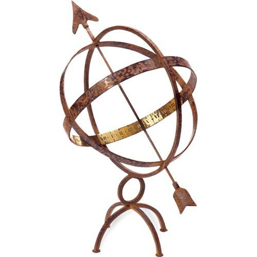Hammered Antique Copper Wrought Iron Armillary Sundial