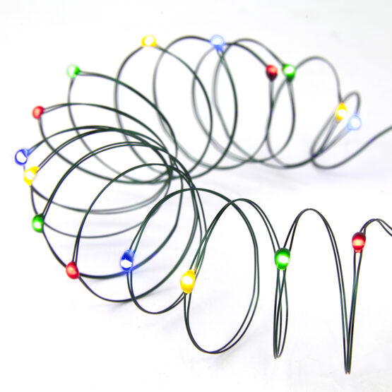 7' LED Fairy Lights, Multicolor, Green Wire