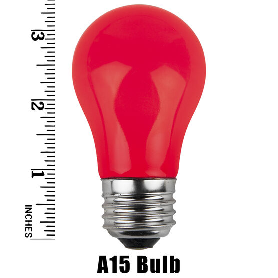 A15 Colored Party Bulbs, Red Opaque