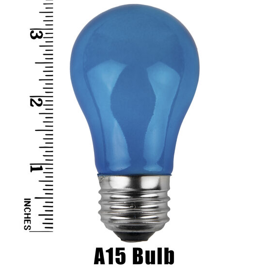 A15 Colored Party Bulbs, Blue Opaque