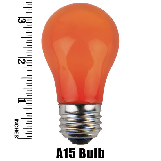 A15 Colored Party Bulbs, Orange Opaque