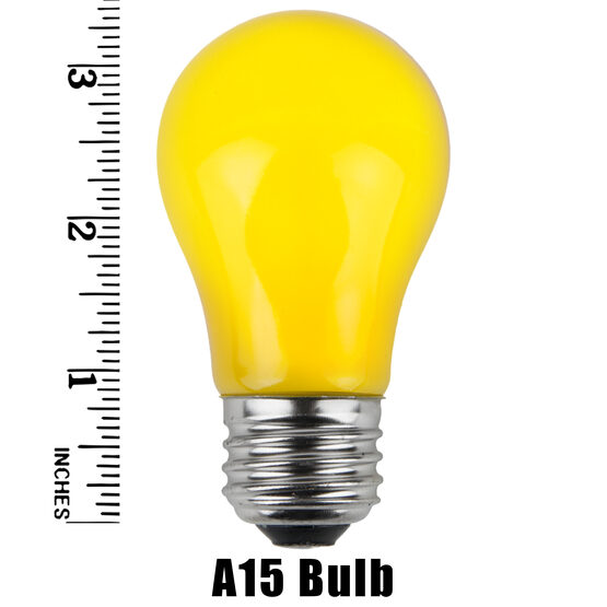 A15 Colored Party Bulbs, Yellow Opaque