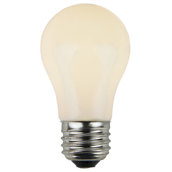 A15 Patio Light Bulbs, White Opaque