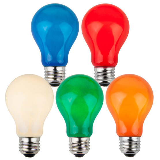 A19 Colored Party Bulbs, Multicolor Opaque