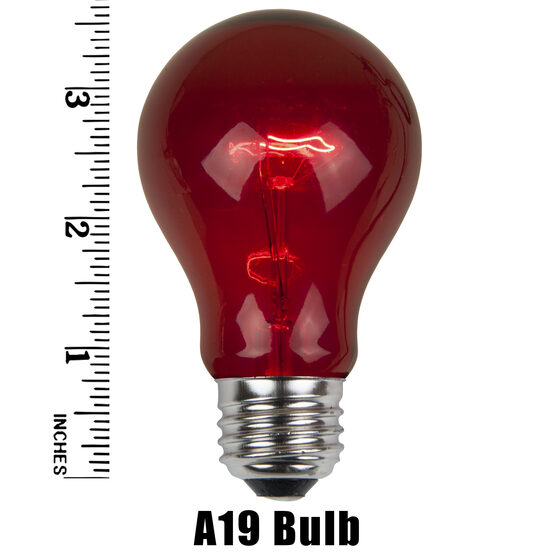 A19 Colored Party Bulbs, Red