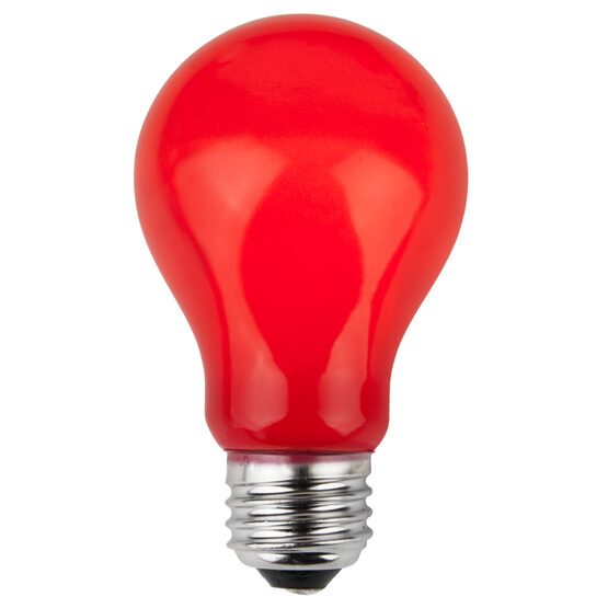 A19 Colored Party Bulbs, Red Opaque