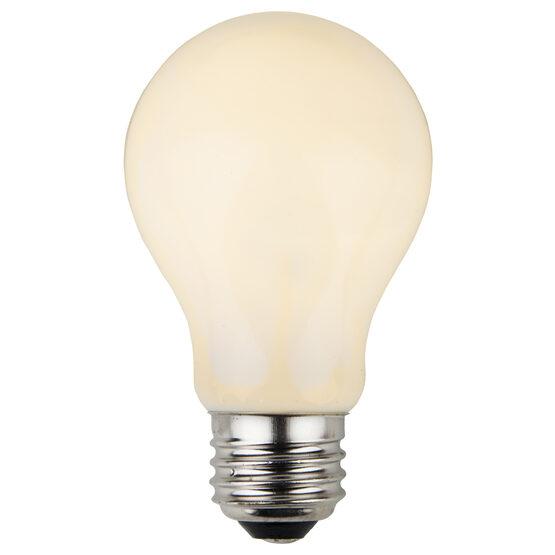 A19 Patio Light Bulbs, White Opaque