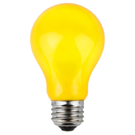 A19 Colored Party Bulbs, Yellow Opaque