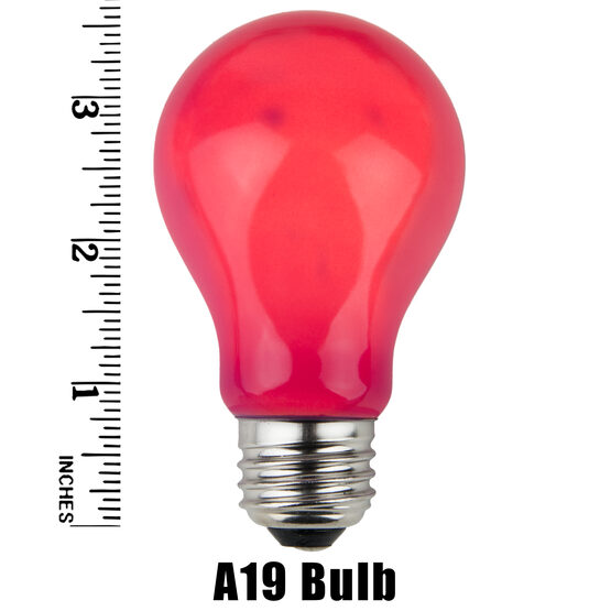 A19 Colored Party Bulbs, Pink Opaque