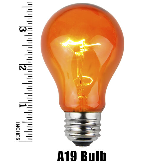 A19 Colored Party Bulbs, Amber