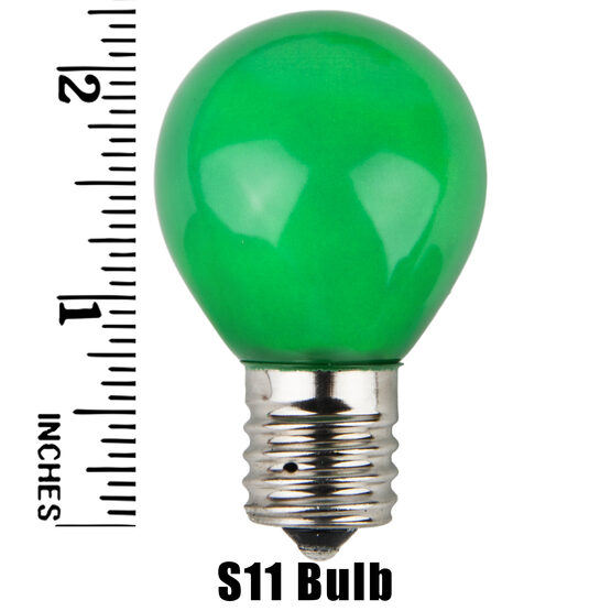 S11 Colored Party Bulbs, Green Opaque