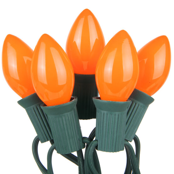 C7 Commercial String Lights, Opaque Orange Bulbs