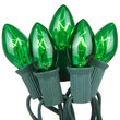 C7 Commercial String Lights, Green Bulbs