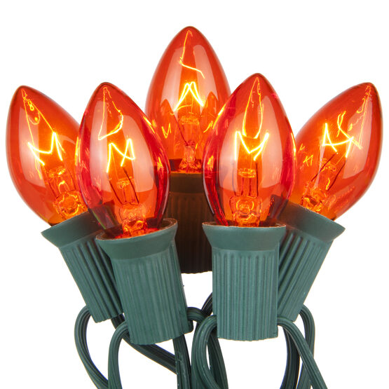 C7 Commercial String Lights, Amber Bulbs